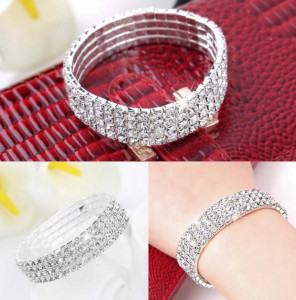 Clear Crystal Charm Bangles